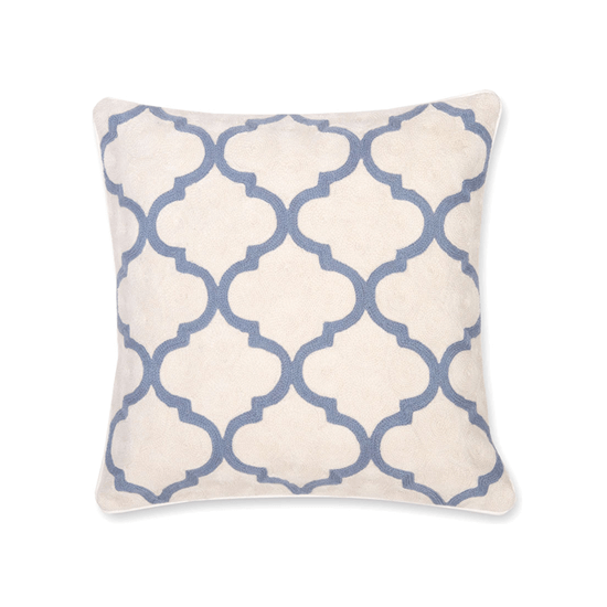 Gopura Grey Blue Hand Embroidered Pillow, 20x20