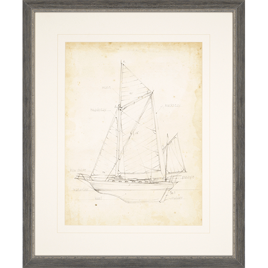 Sailboat Blueprint V, 35'' x 29''