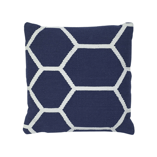 Blue & White Cotton Hexagon Woven Pillow, 20x20