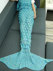 Comfortable Hollow Out Design Knitted Mermaid Tail Blanket (AZURE)