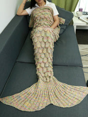 Comfortable Hollow Out Design Knitted Mermaid Tail Blanket (BEIGE)