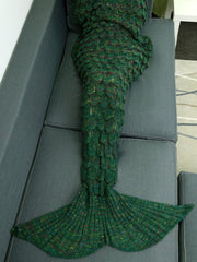 Comfortable Hollow Out Design Knitted Mermaid Tail Blanket (GREEN)