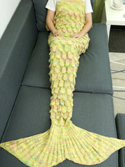 Comfortable Hollow Out Design Knitted Mermaid Tail Blanket (YELLOW)