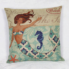 Colorful Linen Mermaid Pattern Decorative Pillowcase
