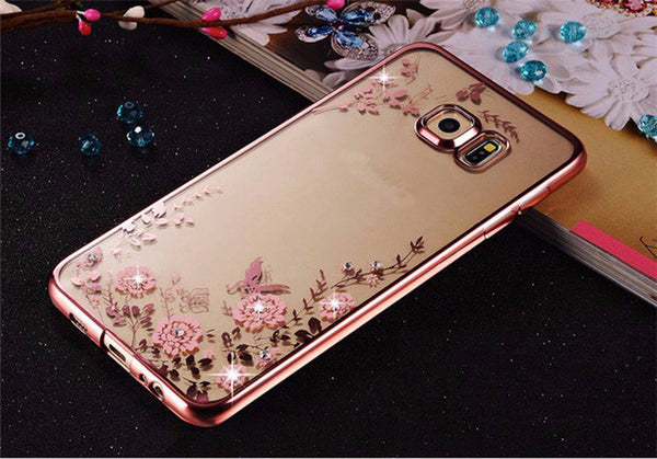3385418d658 Rhinestone Clear TPU Cover For Samsung Galaxy S6 S7 Edge S8 Plus A3 A5 A7  2017