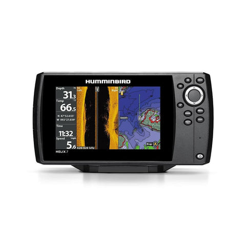 front photo of the HELIX 7 Chirp SI/GPS G2 Combo Humminbird Fish Finder against a white background