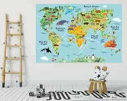 MAP WALL DECALS, KIDS WALL STICKERS, WALL DECOR