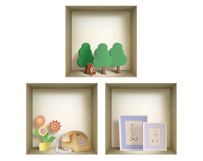 WALL Stickers, NICHE illusion set, Removable Vinyl