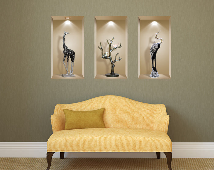 3D Wall Art Niche, Sticker Set, Wall Decor, Wall Decals Living Room ...