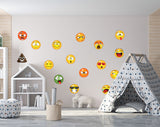 Set of 16 Emoji Faces Wall Decal Car Sticker