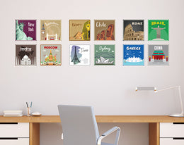12x2 (24 pcs) TRAVEL THE WORLD WITH THESE ILLUSTRATED STAMP WALL STICKERS