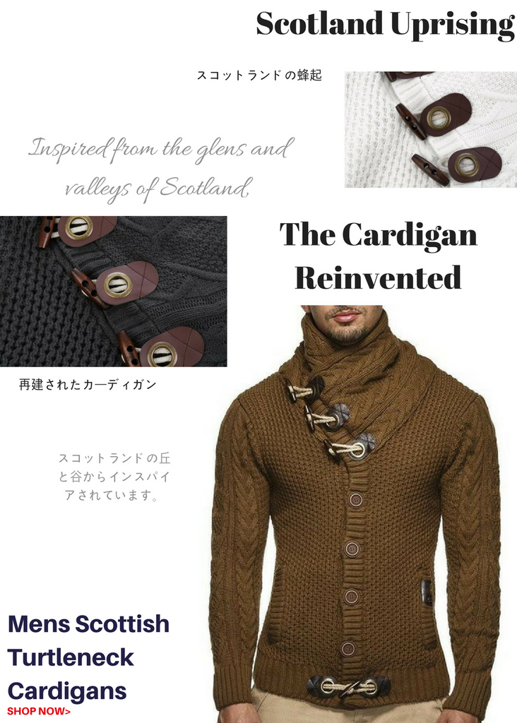 miTeigi Mens Cardigan Collection Scotland Scottish Turtleneck Cardigans Man Fashion Apparel Clothes Clothing
