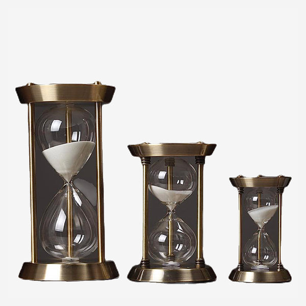 Retro Metal Hourglass Sand Timer Pendulum Hour Glass Clock Home Decor Gift Trend