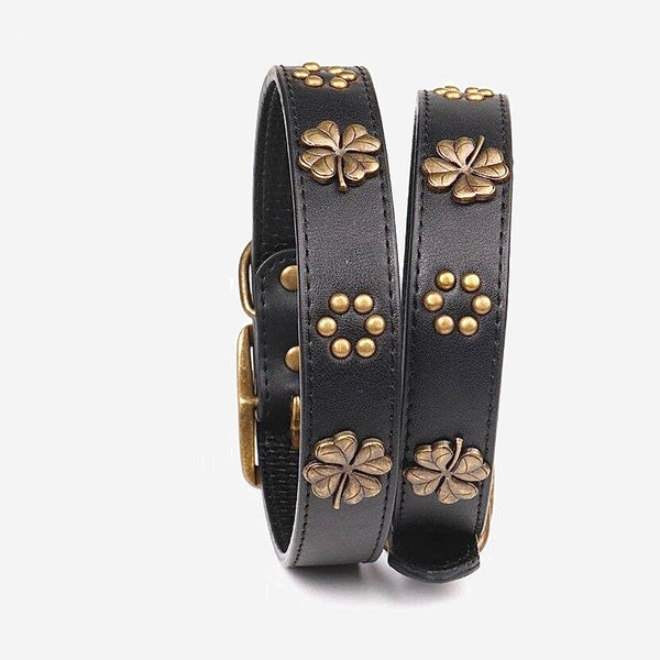 Leather Dog Collar    Black Adjustable Copper Shamrock Decoration Dogs Collar Necklace Martingale Pet Accessories Trend