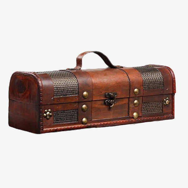 Decorative Wooden Wine Treasure Box with Straps Old-Fashioned Antique Vintage Wine Storage Box Trend