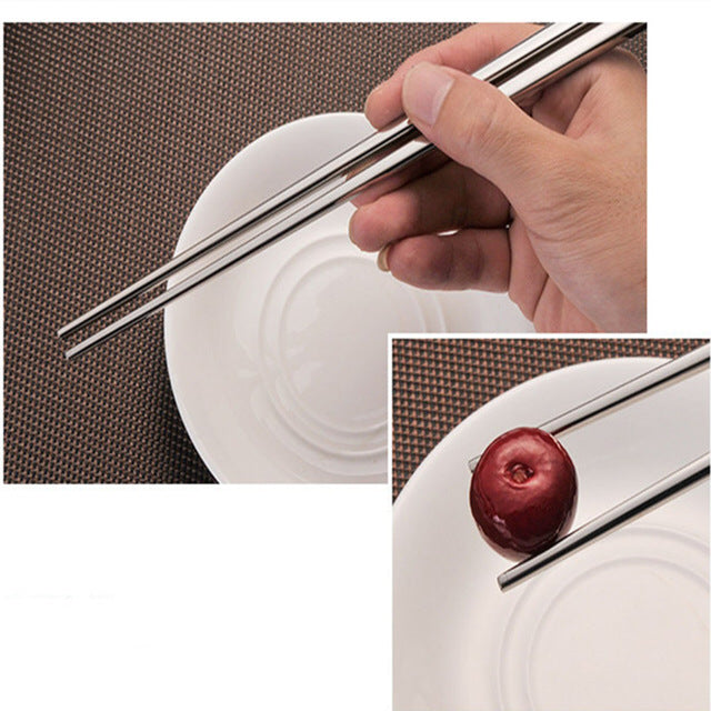 304 Stainless Steel Chinese Chopsticks 4 Pair Set 23cm China Silver Chopstick Style