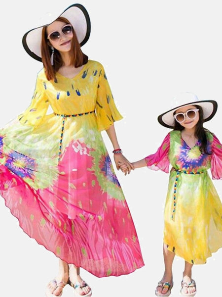Mom and Girls Match Dresses     Rainbow boatneck floral bohemian matching mother daughter toddler dress clothes outfits Trend