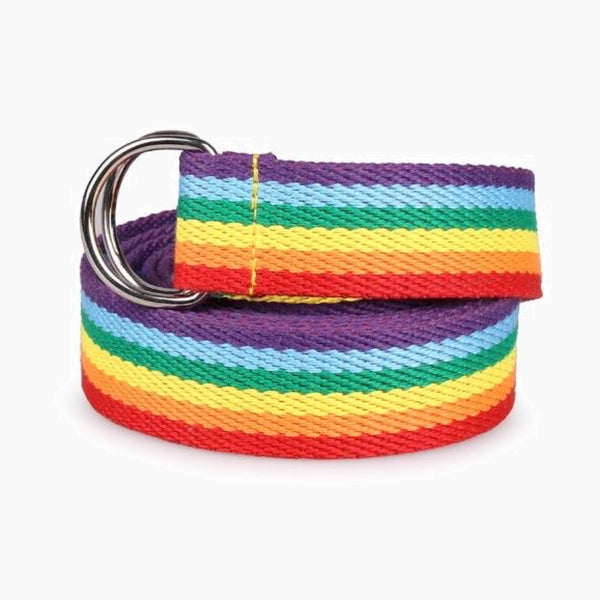 Trendy Multicolor Rainbow Colors Exquisite Waist Belt Pretty Multicolour Canvas Thin Skinny Belts Accessory Trend