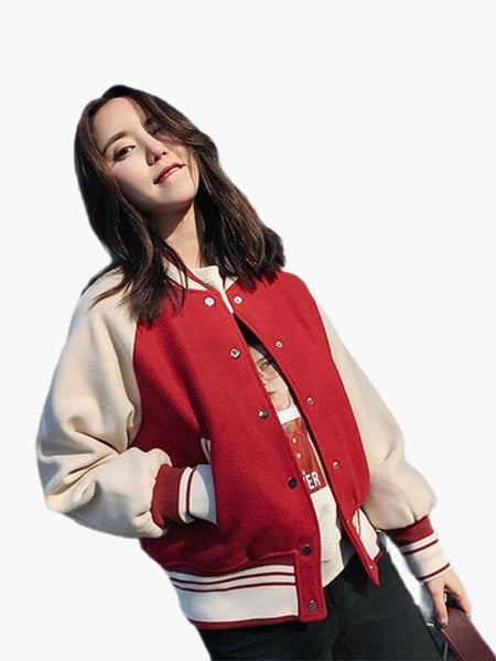 Bomber Jacket   Casual loose harajuku short splice streetwear women's red baseball jackets coat Trend