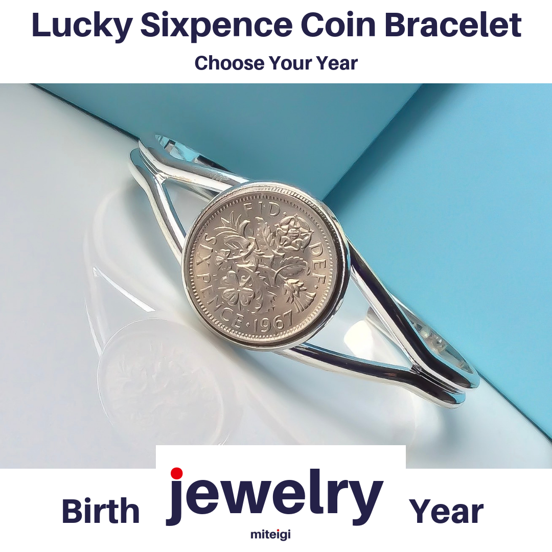 Luxury Handmade Lucky Sixpence British Coin Bracelet Jewelry Choose Your Year Coin Bracelets Jewellery