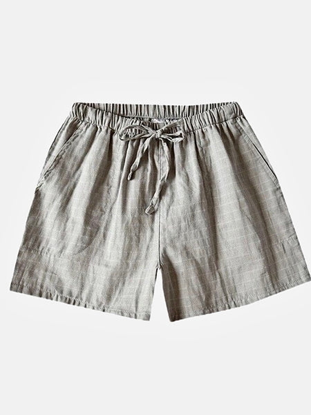 Plaid Pajama Shorts   Gray Cotton thin plus size drawstring couples loungewear pajama shorts Women's sleepwear Trend