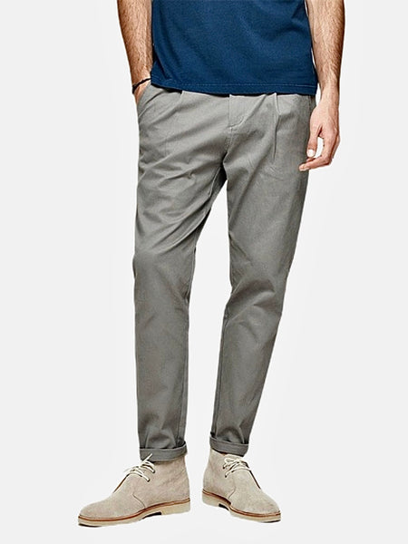 Vintage Khakis in Slim Fit      Casual Solid Gray / Grey color Cotton Classic Long Slim Fit Straight Khaki Pants Men's Work Trousers Trend