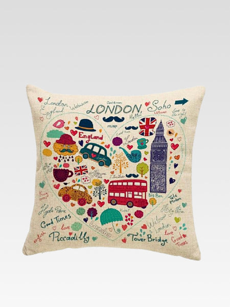 Luxury London Cushion Cover    Cotton linen London City Icons print home decoration car sofa pillow cushion covers 45*45 Trend