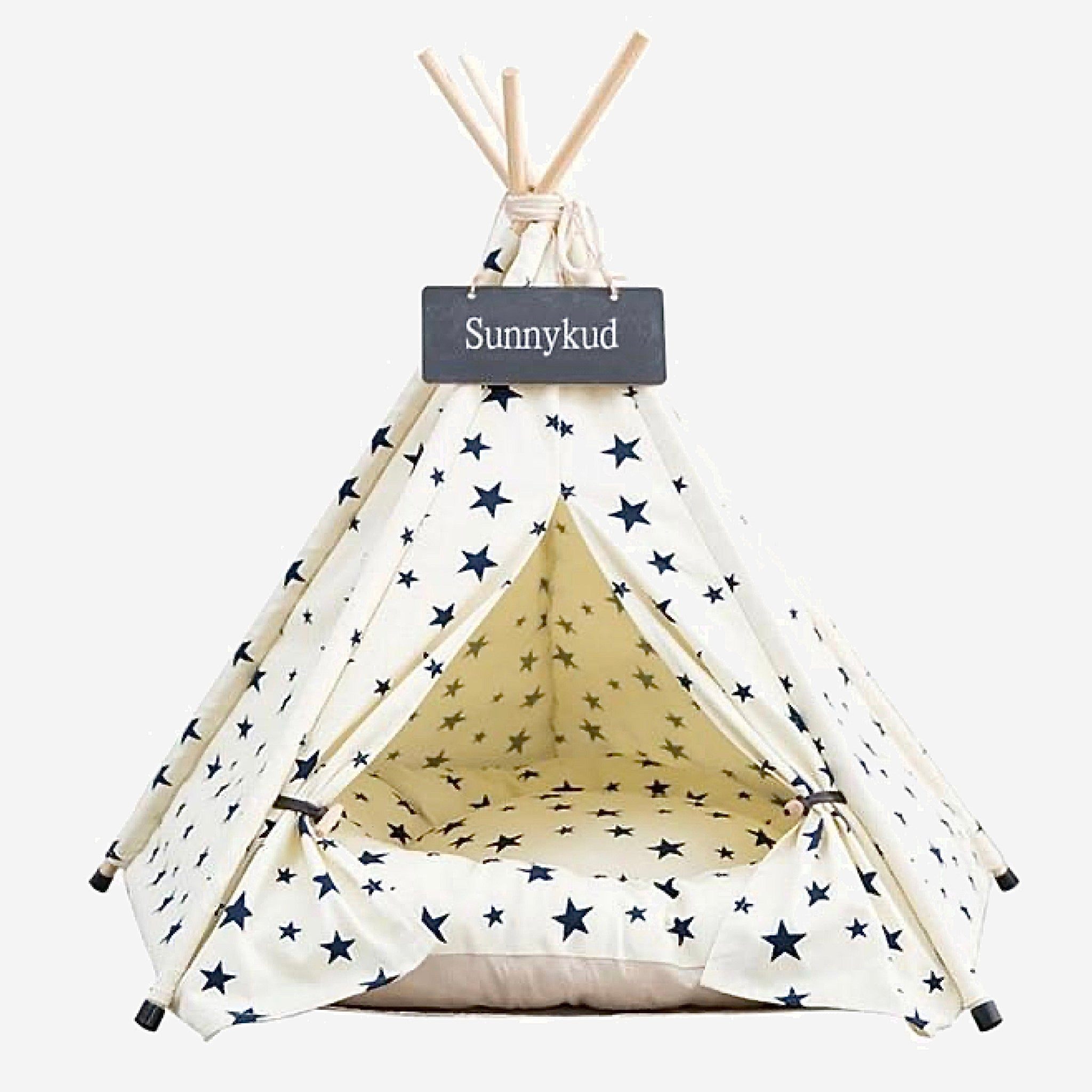 Teepee Pet Tent with Thick Cushion   House Cat Bed Portable for Dog Puppy Excursion Outdoor Indoor use Trend WhiteBlack Stars