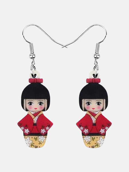 Japanese Geisha Girl Earrings        Cherry Blossom Red Kimono Girl Doll Earrings Drop Dangle Jewelry Gift Japan Kawaii Jewellery Trend