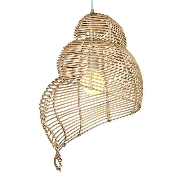 SOLEILCHAT Japanese Coffee Natural Wicker Rattan Shade Snail Pendant Light Fixiture Rustic Asian Japanese Style Hanging Lamp Avize Luminaria Design