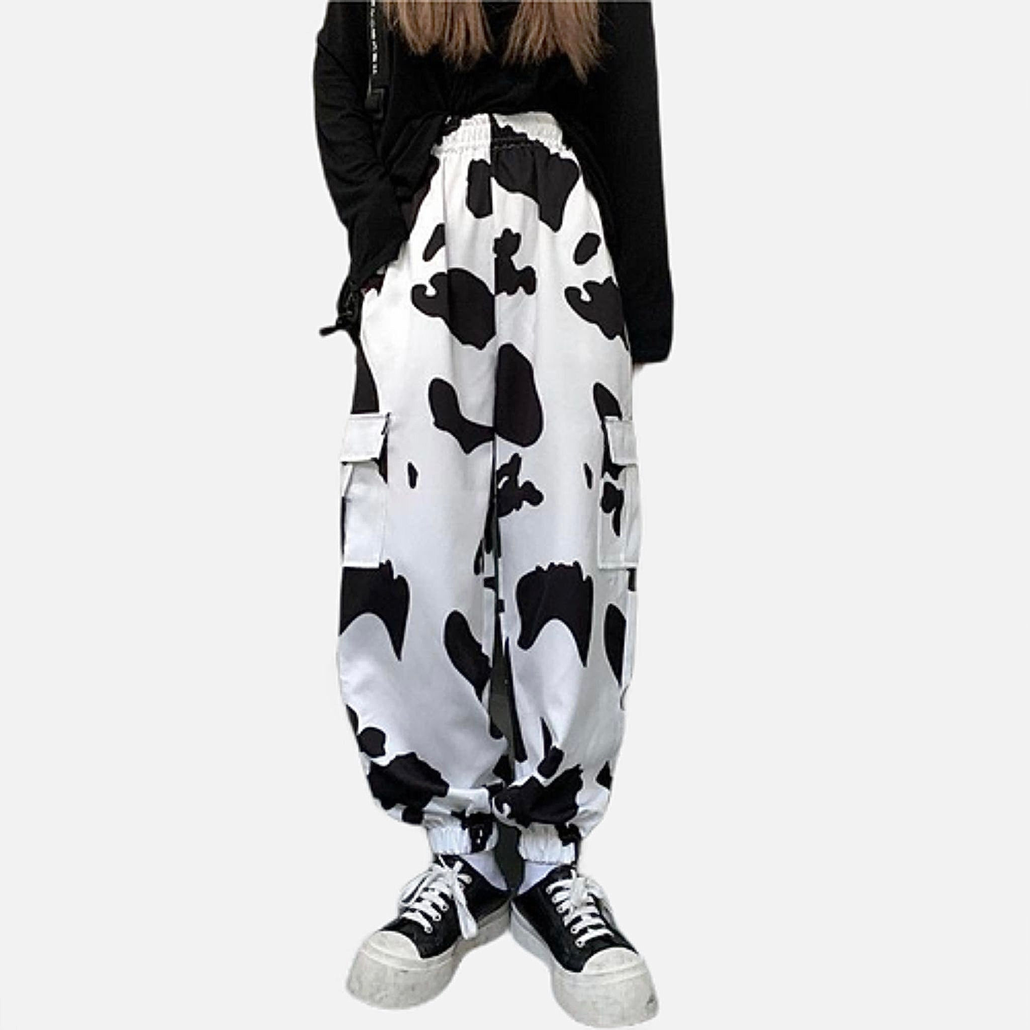 Vintage Palazzo Pants   Classic Harajuku Loose Wide Bunch Leg Straight High Waist Cow Print Women's Trousers