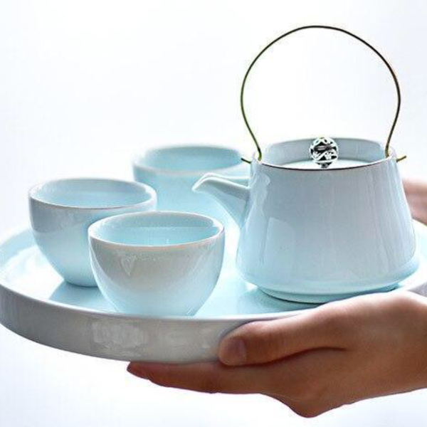Trend Light Blue Ceramic Japanese Tea Ceremony Set