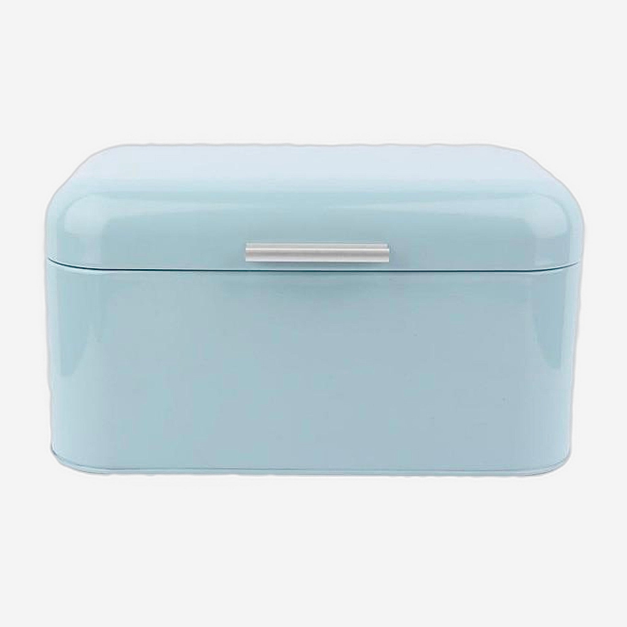 Retro Light Blue Metal Bread Box Bread Storage Organizer Boxes Solid Color Large Capacity Bin Kitchen Storage Container Trend