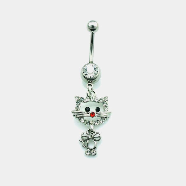 Cute Cat Belly Button Ring 316 Medical Stainless Steel Barbell Pierced Navel Rings Body Piercing Jewelry Trend