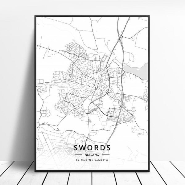 Swords Ireland Canvas Art Map Poster Irish Wall Art Home Decor Trend
