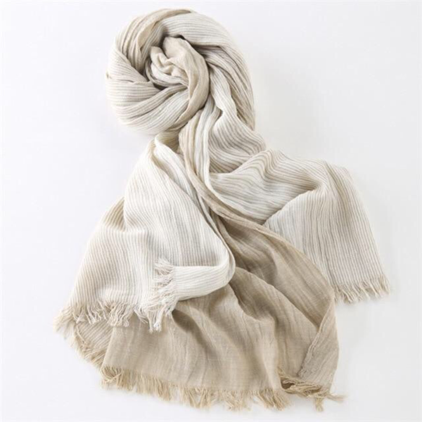 Japanese Khaki Cotton Pashmina Scarves Gender Neutral Men Women Japan Striped Tassels Cashmere Scarves Style