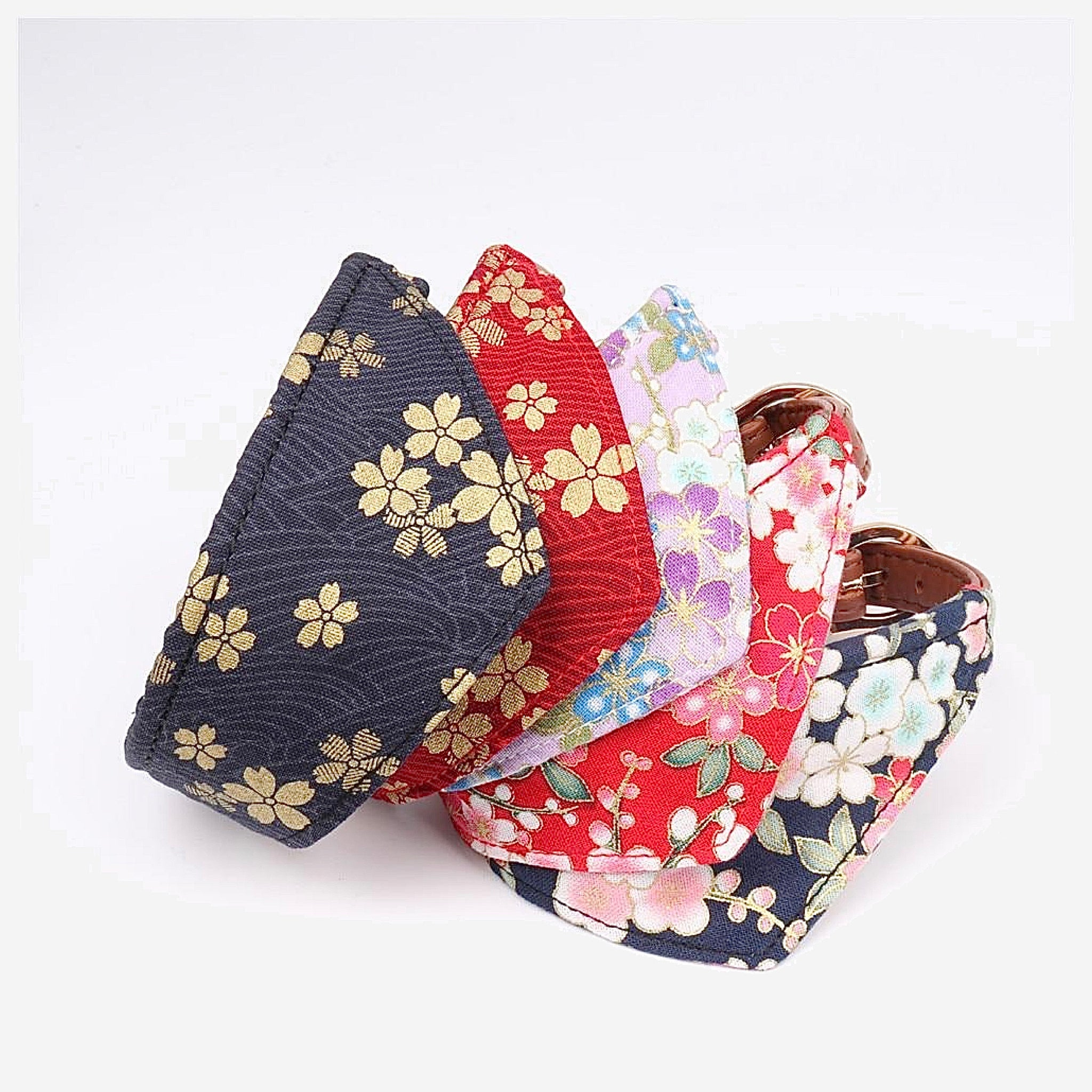 Japanese Bandana Pet Collar    Made of leather buckle design fine workmanship triangle scarf Japan pets supplies for cats and dogs Cherry Blossom Trending Style