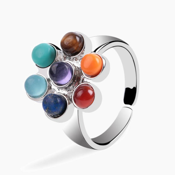 7 Chakra Rings Reiki Energy Healing Point Stone Beads Adjustable Ring Rainbow Flower Finger Rings Jewelry Trend