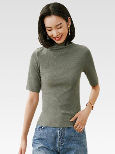 Turtleneck T-Shirt     Women's turtleneck half sleeve olive green casual tee tops Trend