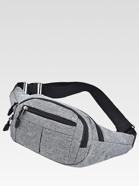 Canvas Belt Bag     Hip gray / grey color oxford canvas banana waist bags getaway travel purse Trend