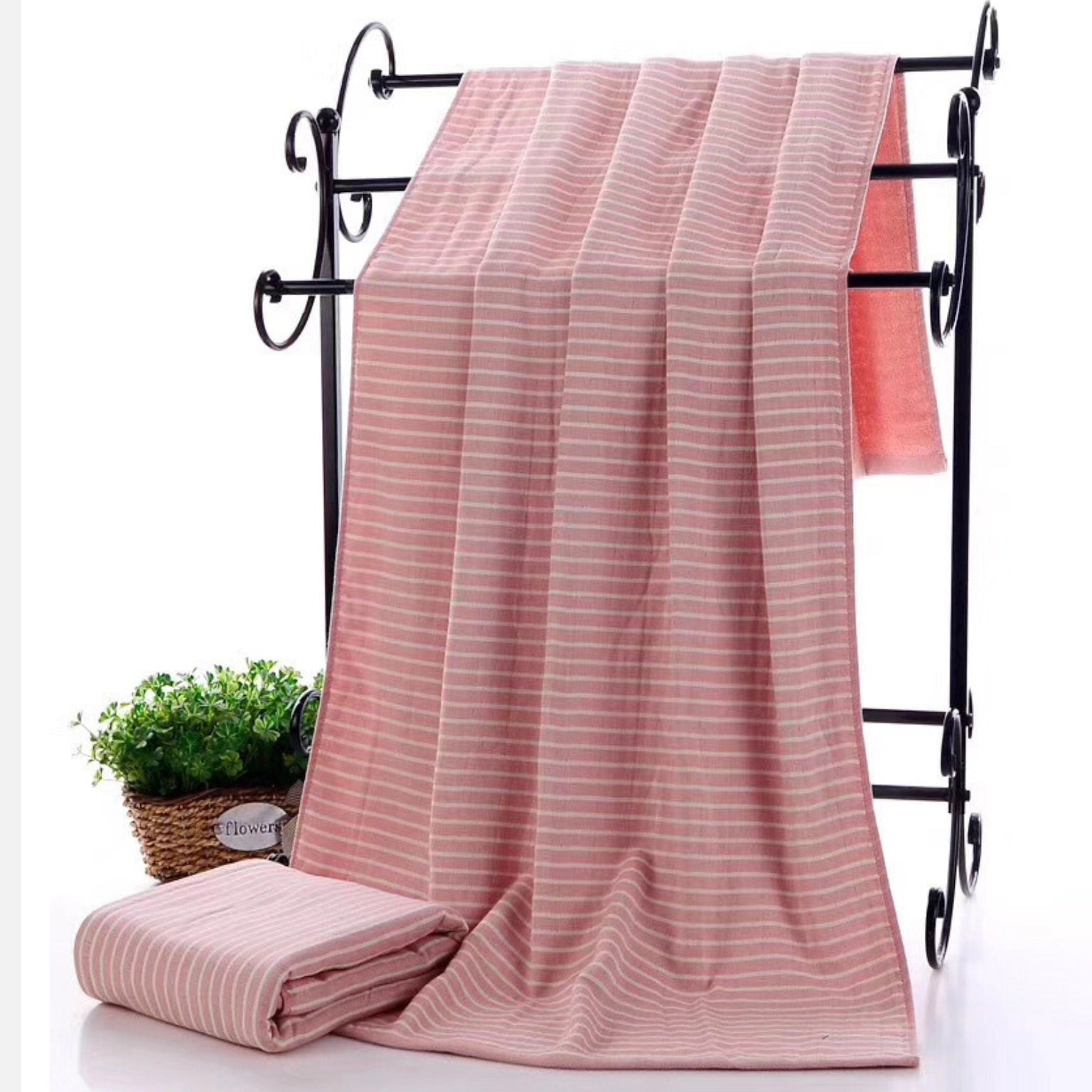 Trend Pink Cotton Bath Towel Japanese Striped Fabric Large Towel Japan Stripe Bathroom Linen Bath Towels