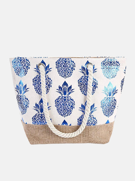 Canvas Tote Bag          Blue pineapple print large capacity beach shopping shoulder bags handbag Trend