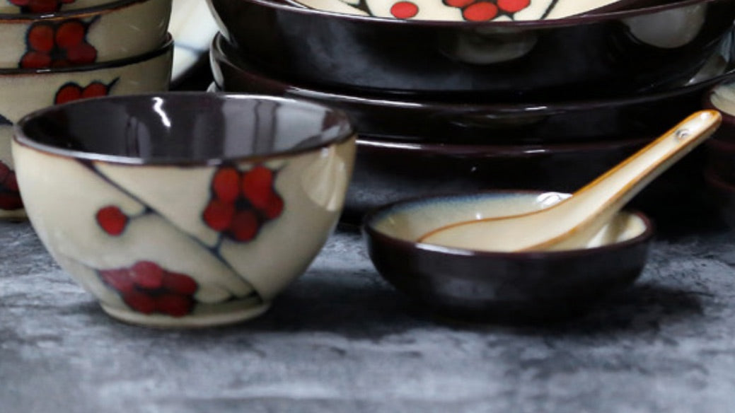 Japanese Red Plum Porcelain Tableware Japan On-Glaze Ceramic Dinnerware Dinner Sets JPN Style M