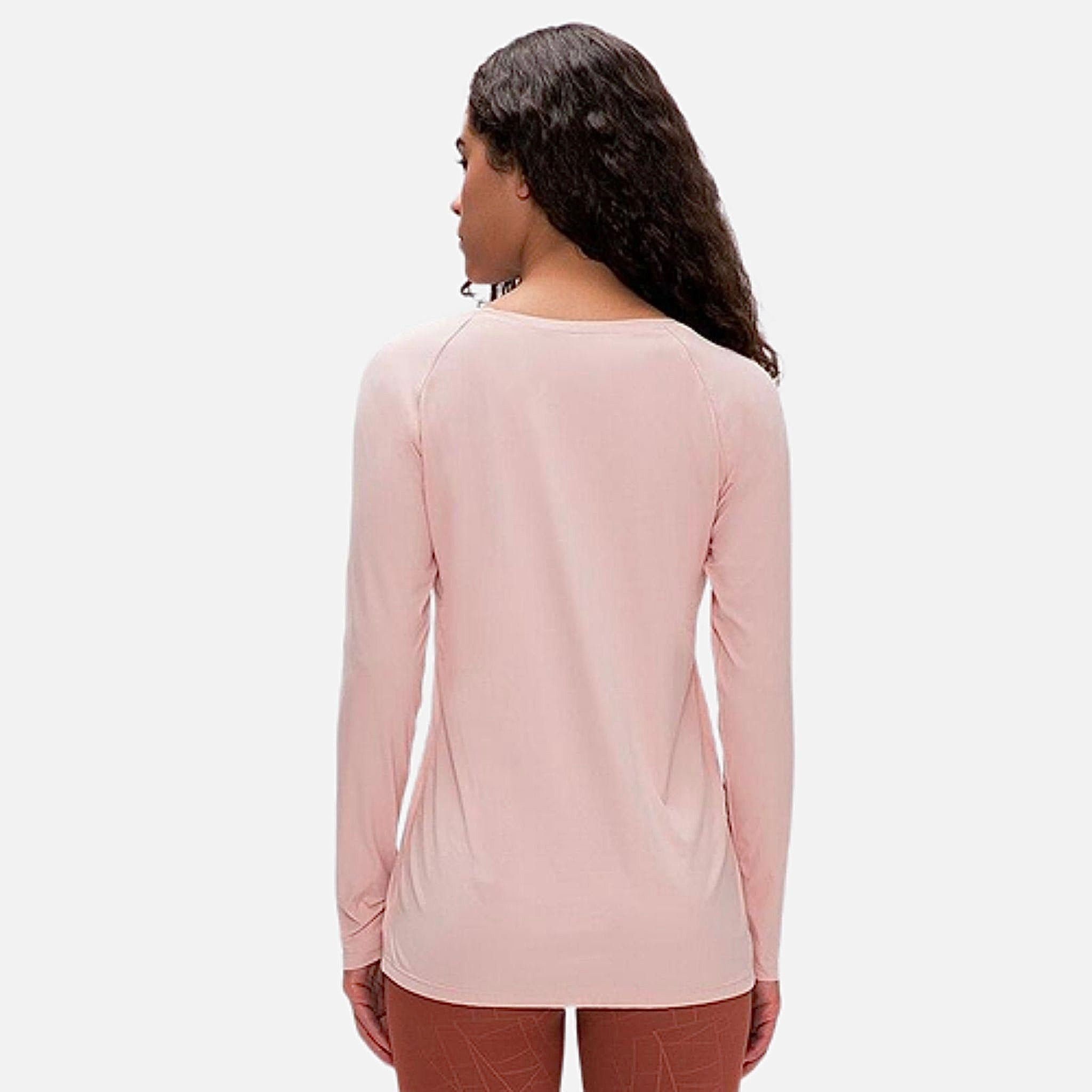 miFit QuickDry Boatneck T-Shirt     Long sleeved champagne powder pink color breathable lightweight loose quick dry naked-feel fabric Skin friendly Workout Yoga Running Sport Tops Women's T-Shirts Sportswear