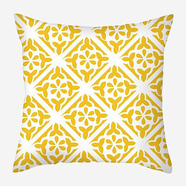 Geometric Cushion Covers Yellow Regal Print Pillow Case For Home Chair Sofa Decoration Pillowcases Cover 45cm*45cm Trend