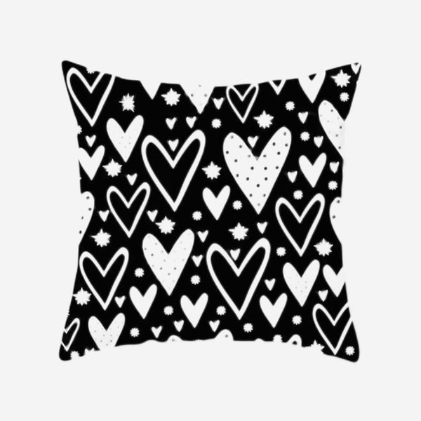 Hearts Cushion Cover Black White Print Pillow Case For Home Chair Sofa Decoration Pillowcases Covers 45cm*45cm Trend