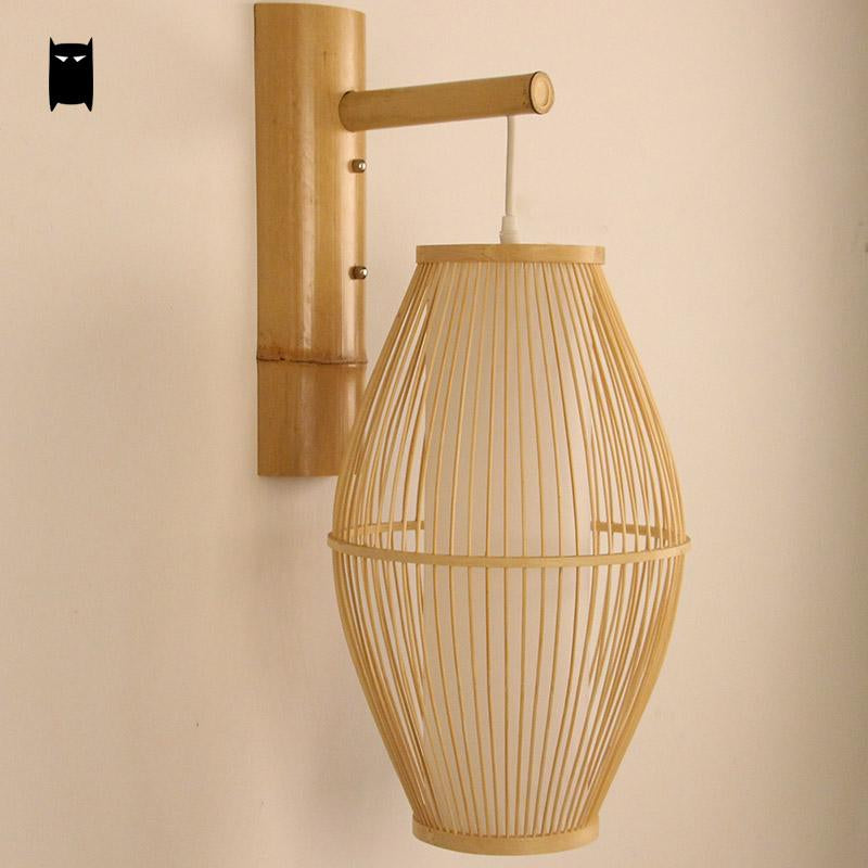 Japanese Bamboo Wicker Rattan Lantern Wall Lam Japan Dining Room Bedroom Lighting Style E