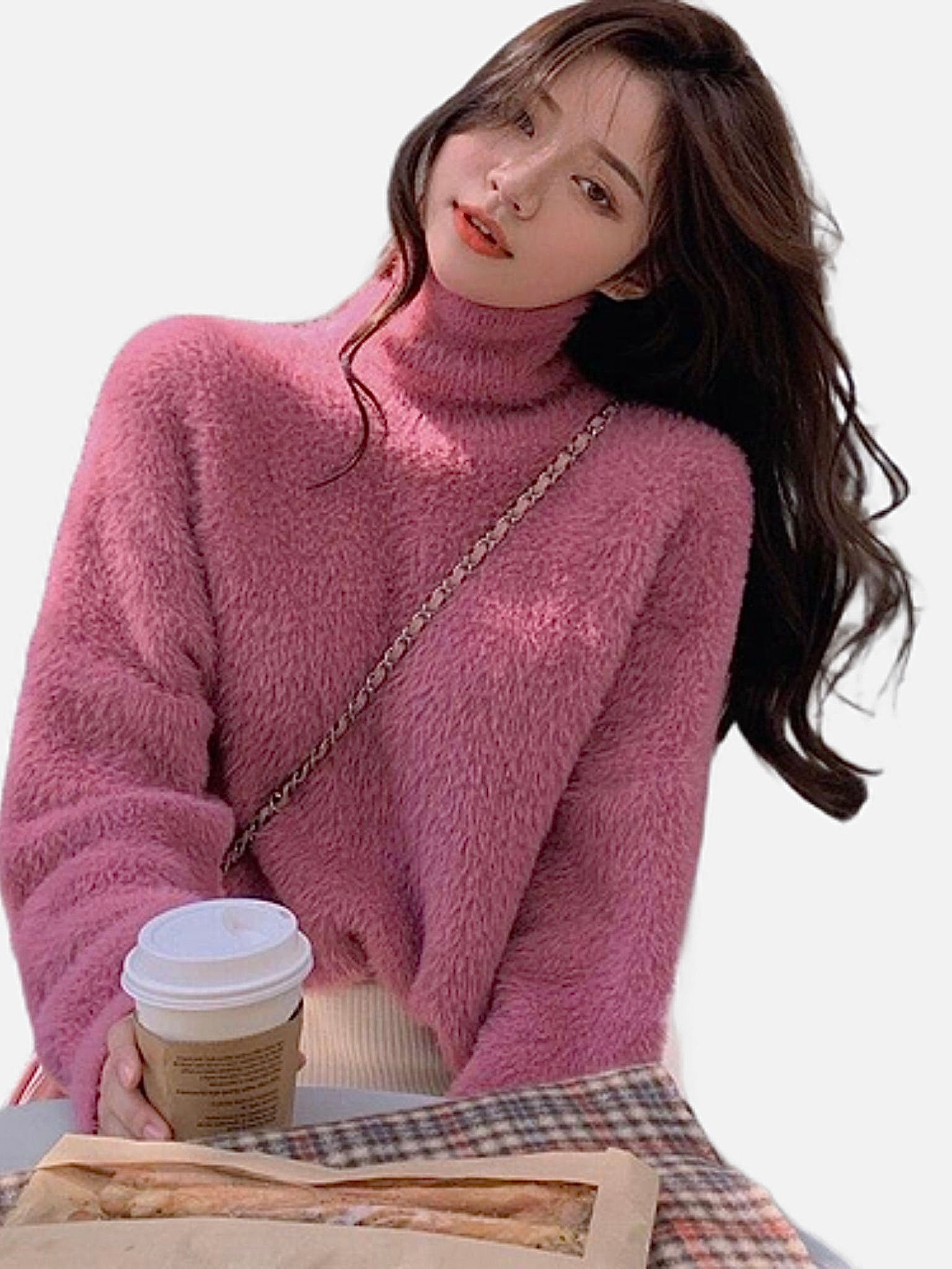 Cozy Turtleneck Sweater    Long Sleeve Sweaters Pink Knit Loose Jumper Women's Pullover Sweaters Trend