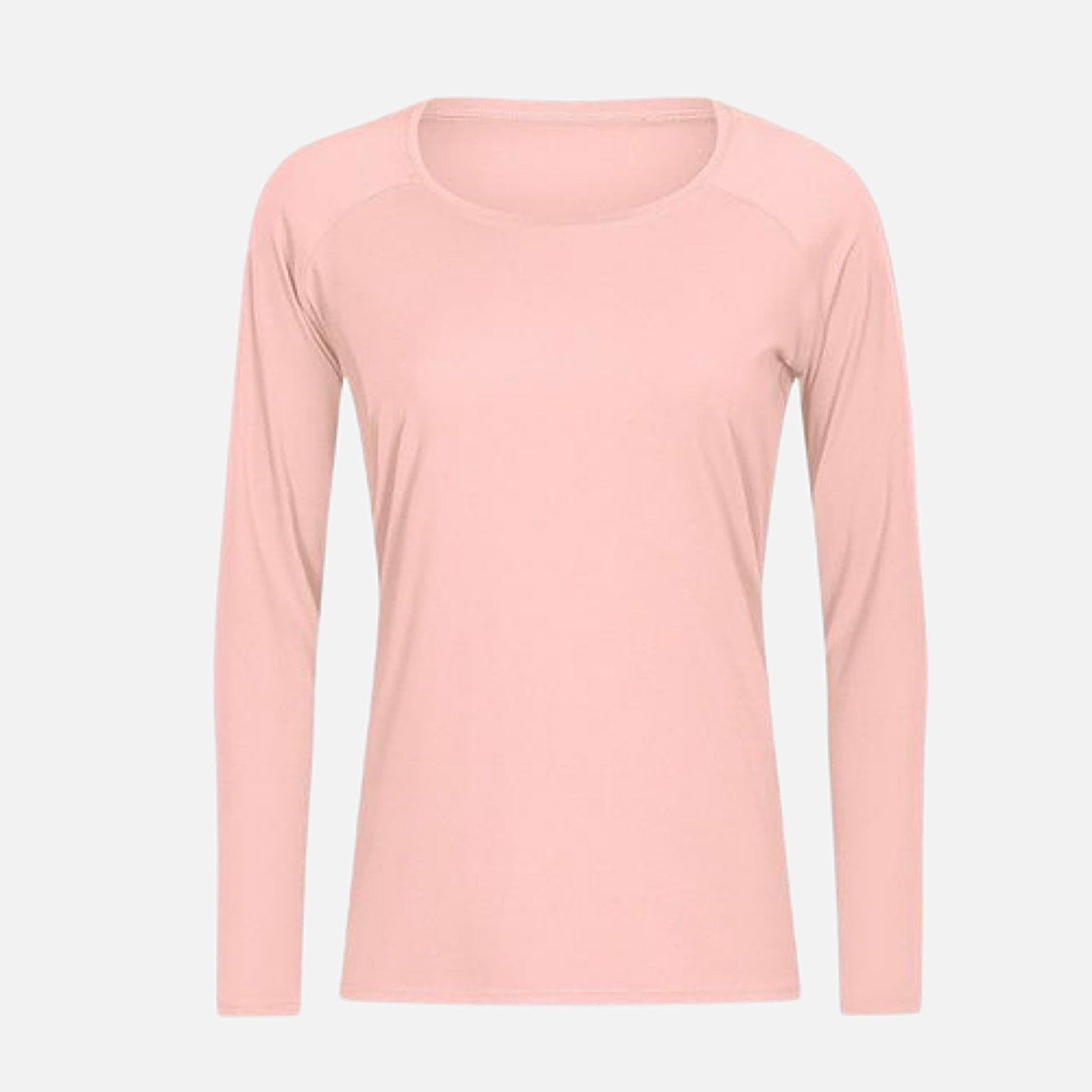 miFit QuickDry Boatneck T-Shirt     Long sleeved champagne powder color breathable lightweight loose quick dry naked-feel fabric Skin friendly Workout Yoga Running Sport Tops Women's T-Shirts Sportswear Style Trend