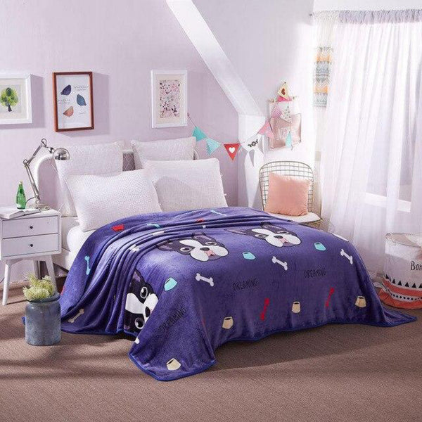 Soft Warm Dogs Blanket Throw Plush Thick Fleece Blankets for Sofa Bed Bedroom Home Decor Furnishing Trend